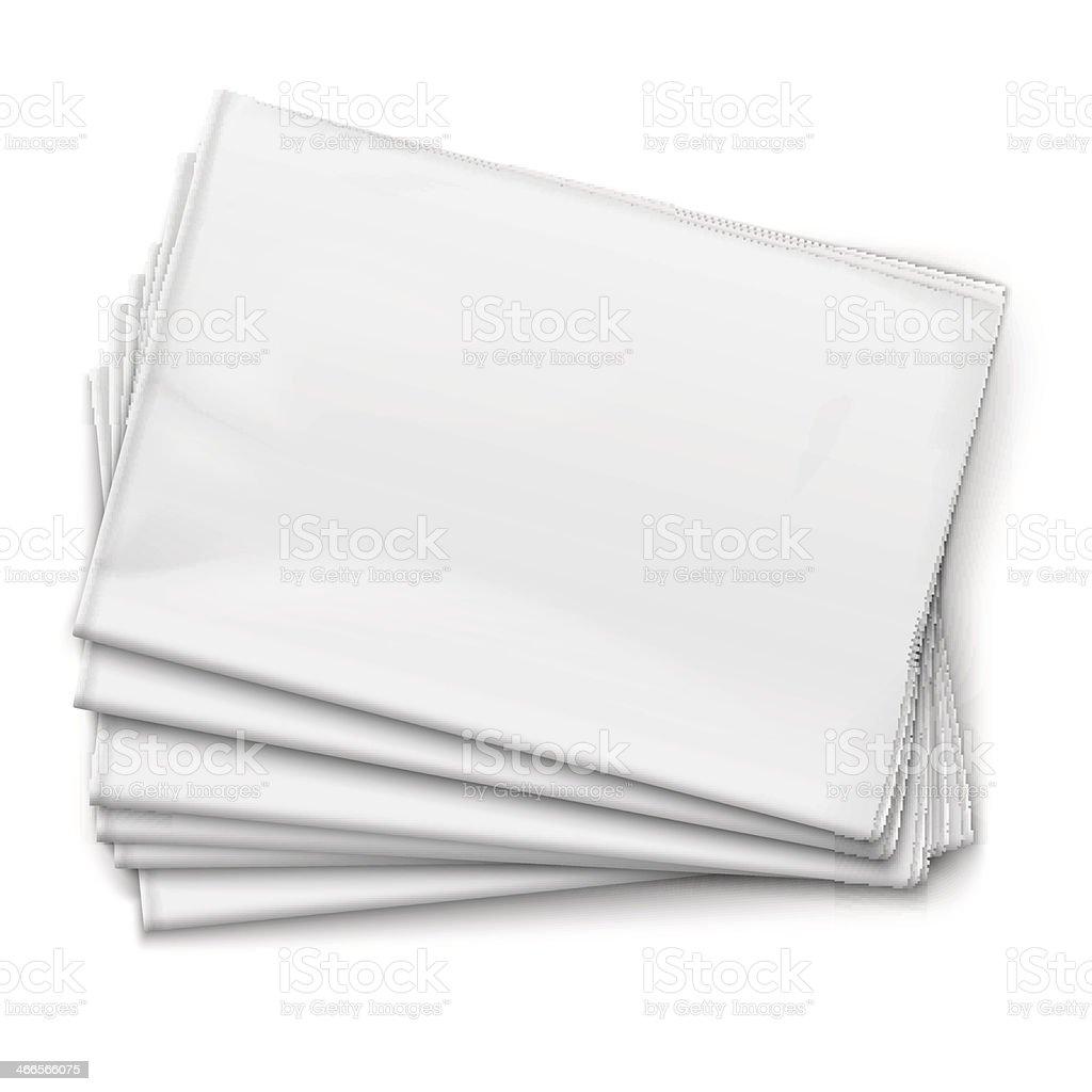 Folded empty newspapers on the floor  vector art illustration