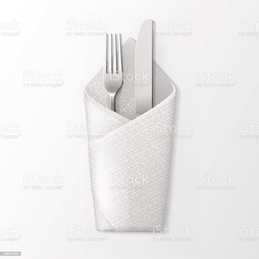 Folded Envelope Napkin with Silver Fork and Knife vector art illustration