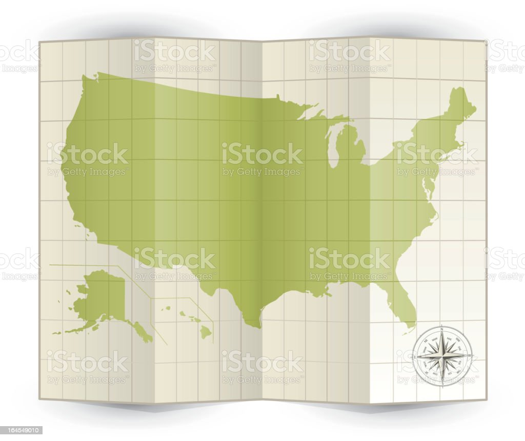 Folded green map of United States vector art illustration