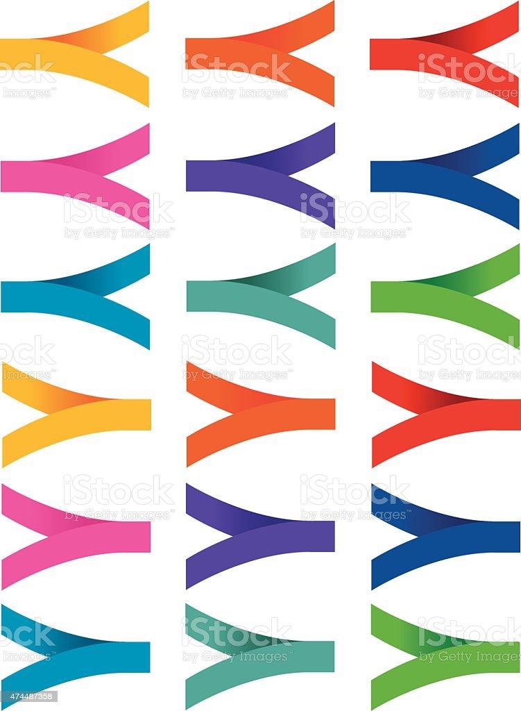 Folded labels 15 vector art illustration