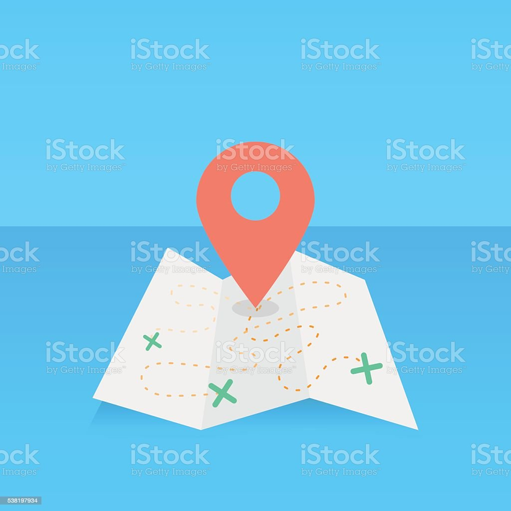 Folded map with a location pin vector art illustration