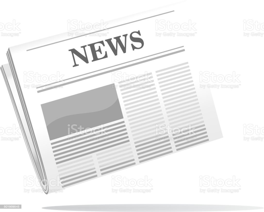 Folded newspaper icon with news header vector art illustration