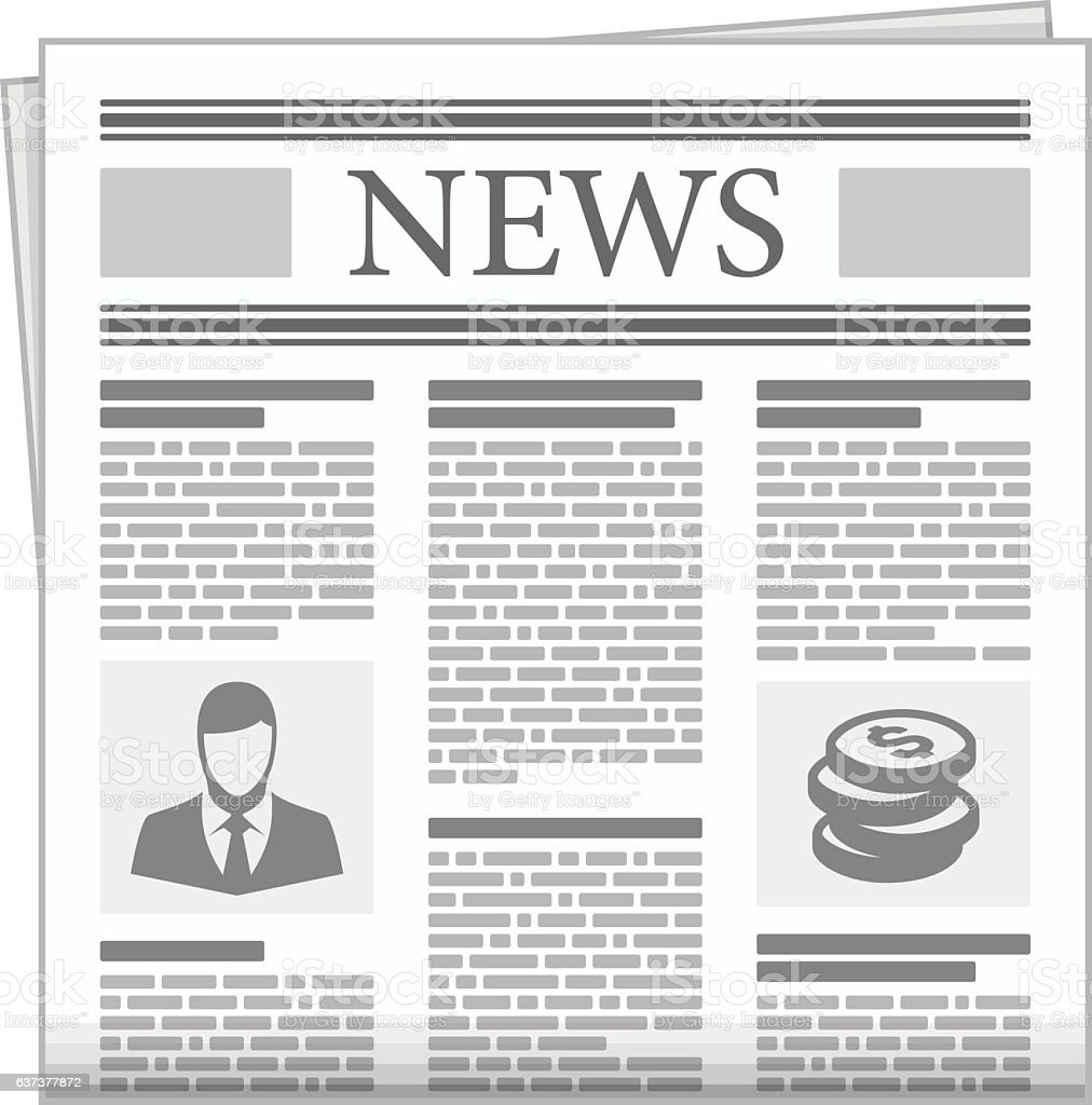 Folded newspaper news with articles. vector art illustration