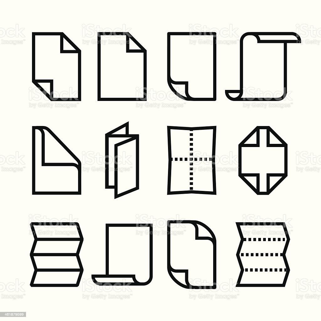 Folded paper icons vector art illustration