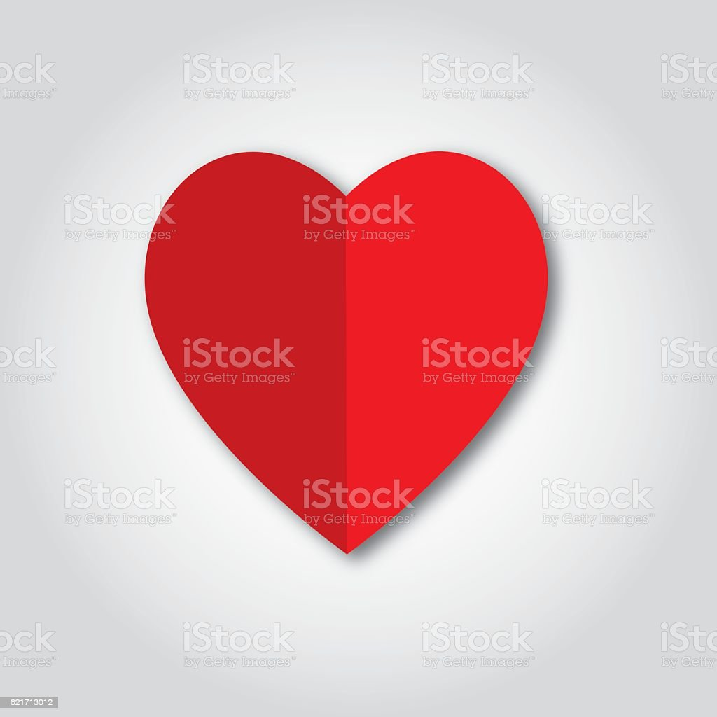 Folded Red Paper Heart Icon vector art illustration