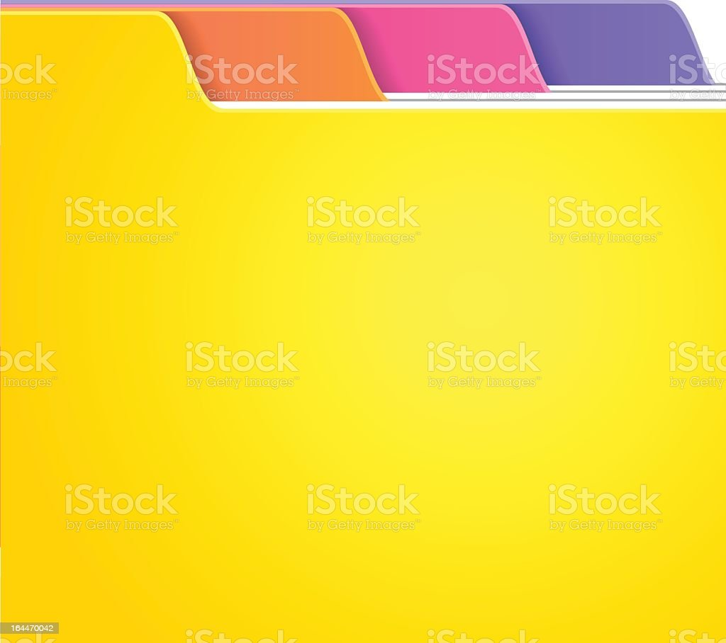 Folded tabs in yellow and many colors royalty-free stock vector art