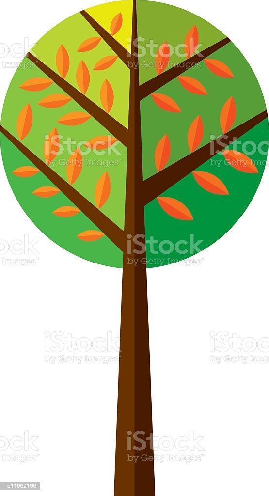Folded tree vector art illustration