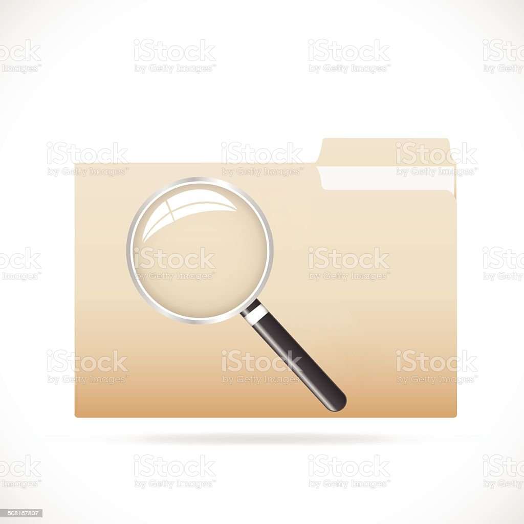 Folder and Magnifying Glass royalty-free stock vector art
