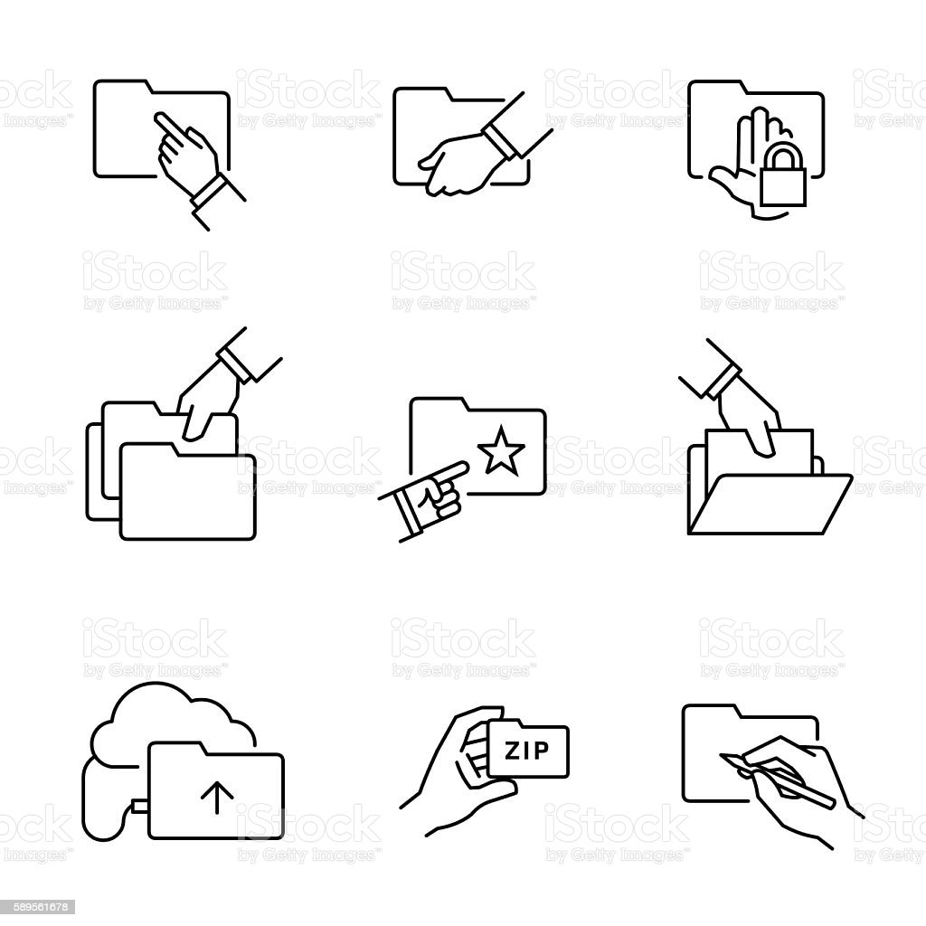 Folder document file icons vector art illustration