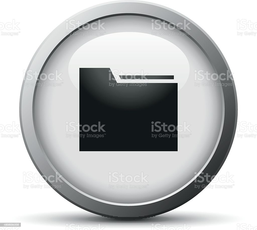 Folder icon on a silver button. vector art illustration