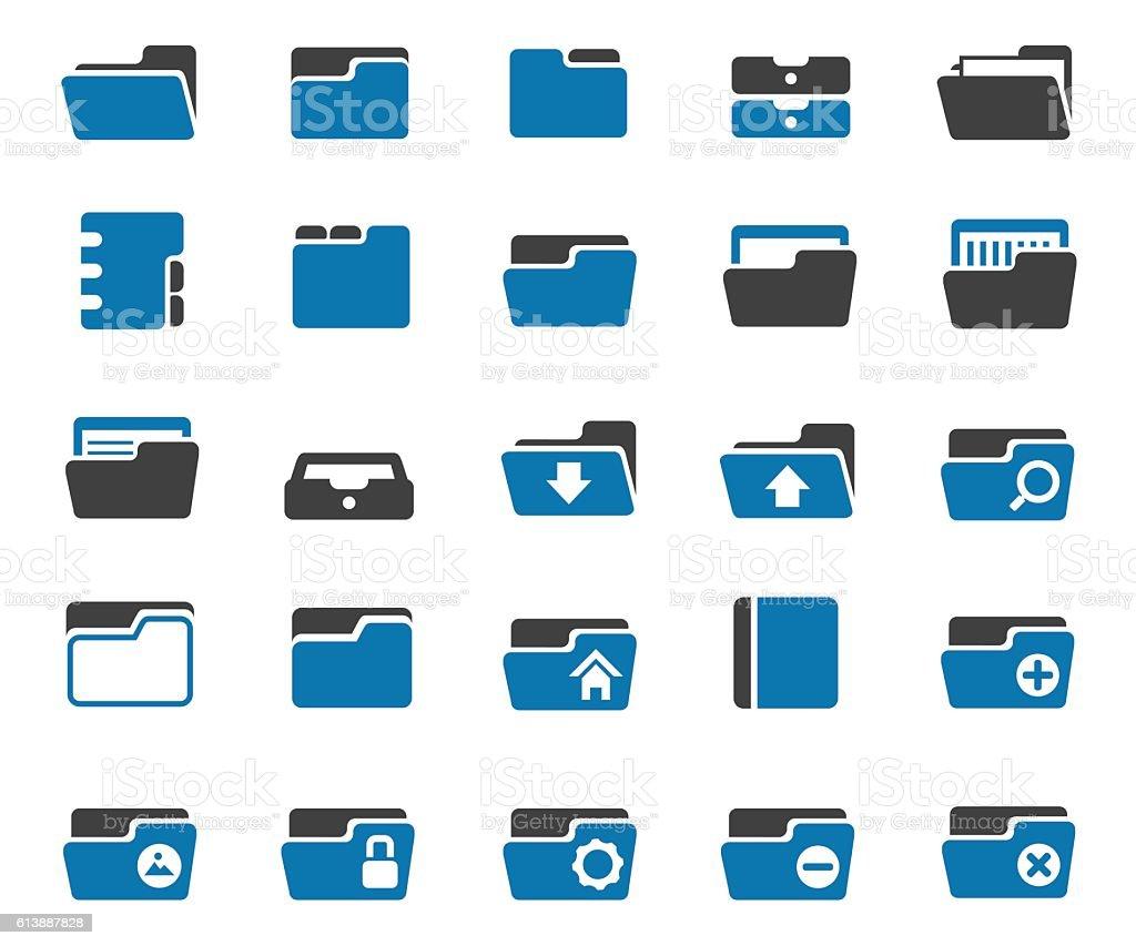 Folder icon set vector art illustration