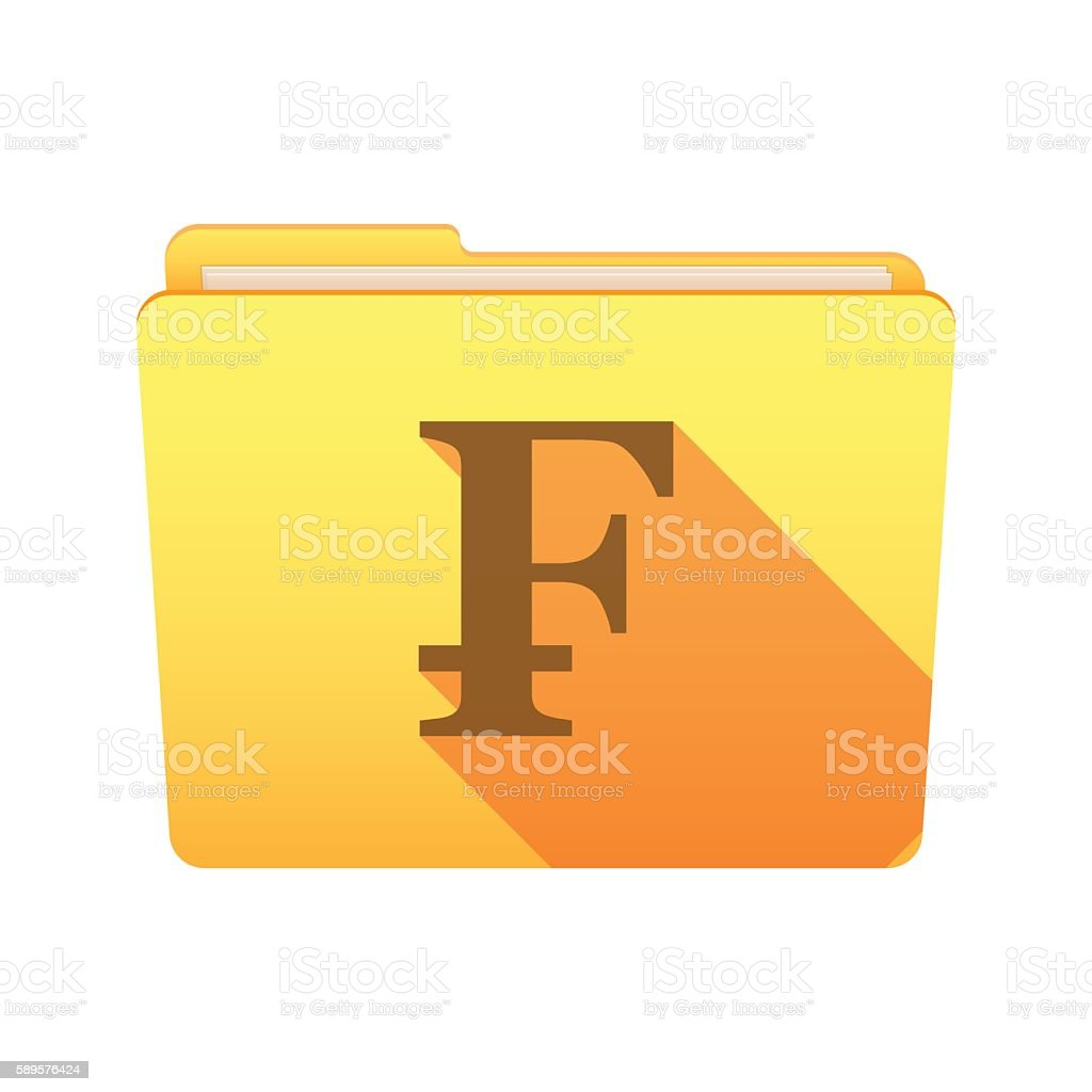 Folder icon with a swiss frank sign vector art illustration