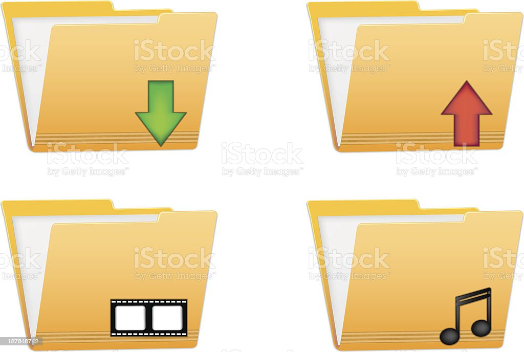 folder vector icons for download upload movie and music files royalty-free stock vector art