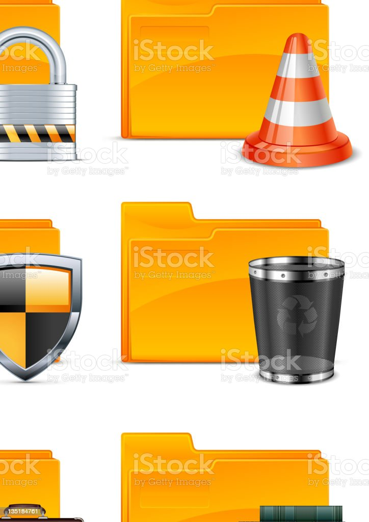 Folder with different icons royalty-free stock vector art