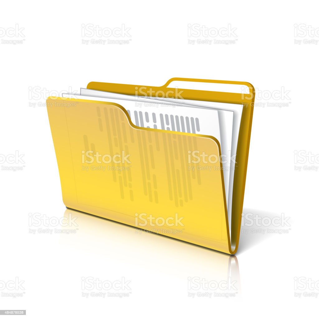 Folder with papers vector art illustration