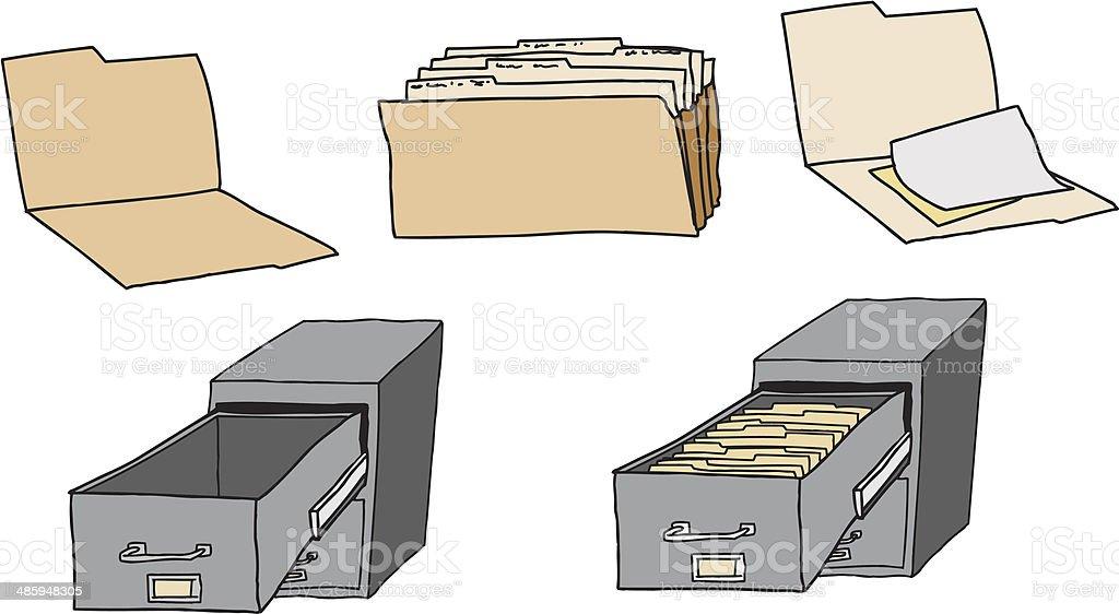 Folders and Filing Cabinet vector art illustration