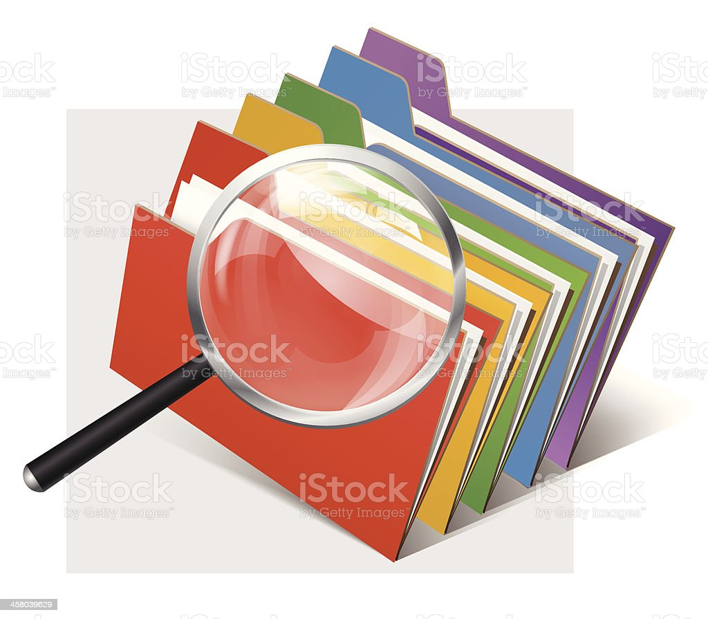 folders and magnifier glass vector art illustration