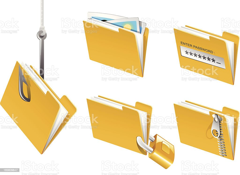 Folders in action royalty-free stock vector art