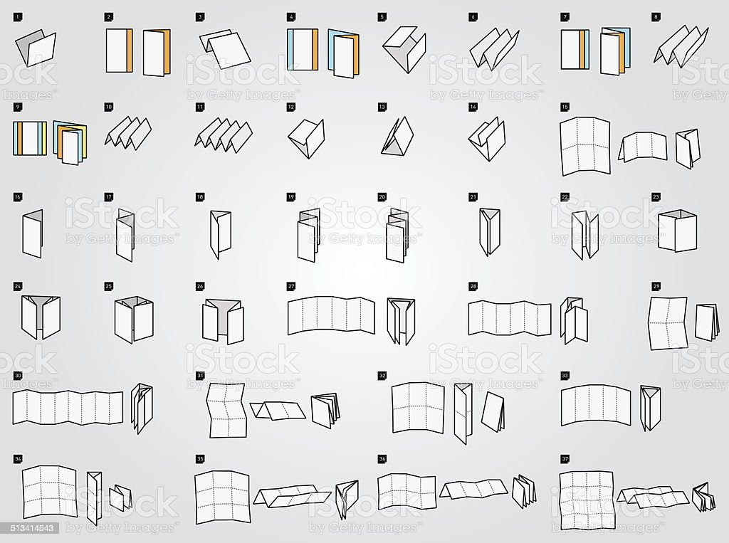 Folding icons for print vector art illustration