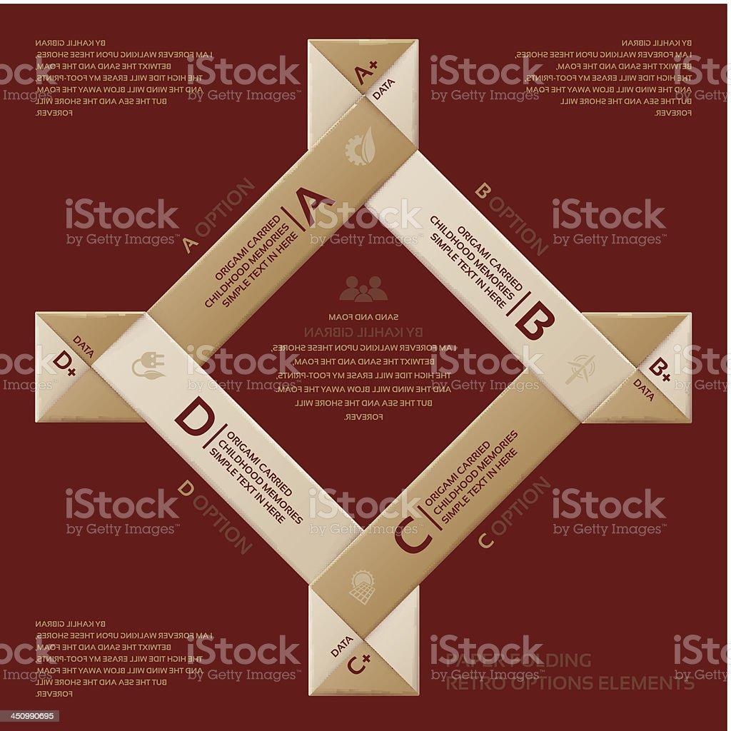 Folding paper style retro options tab. royalty-free stock vector art