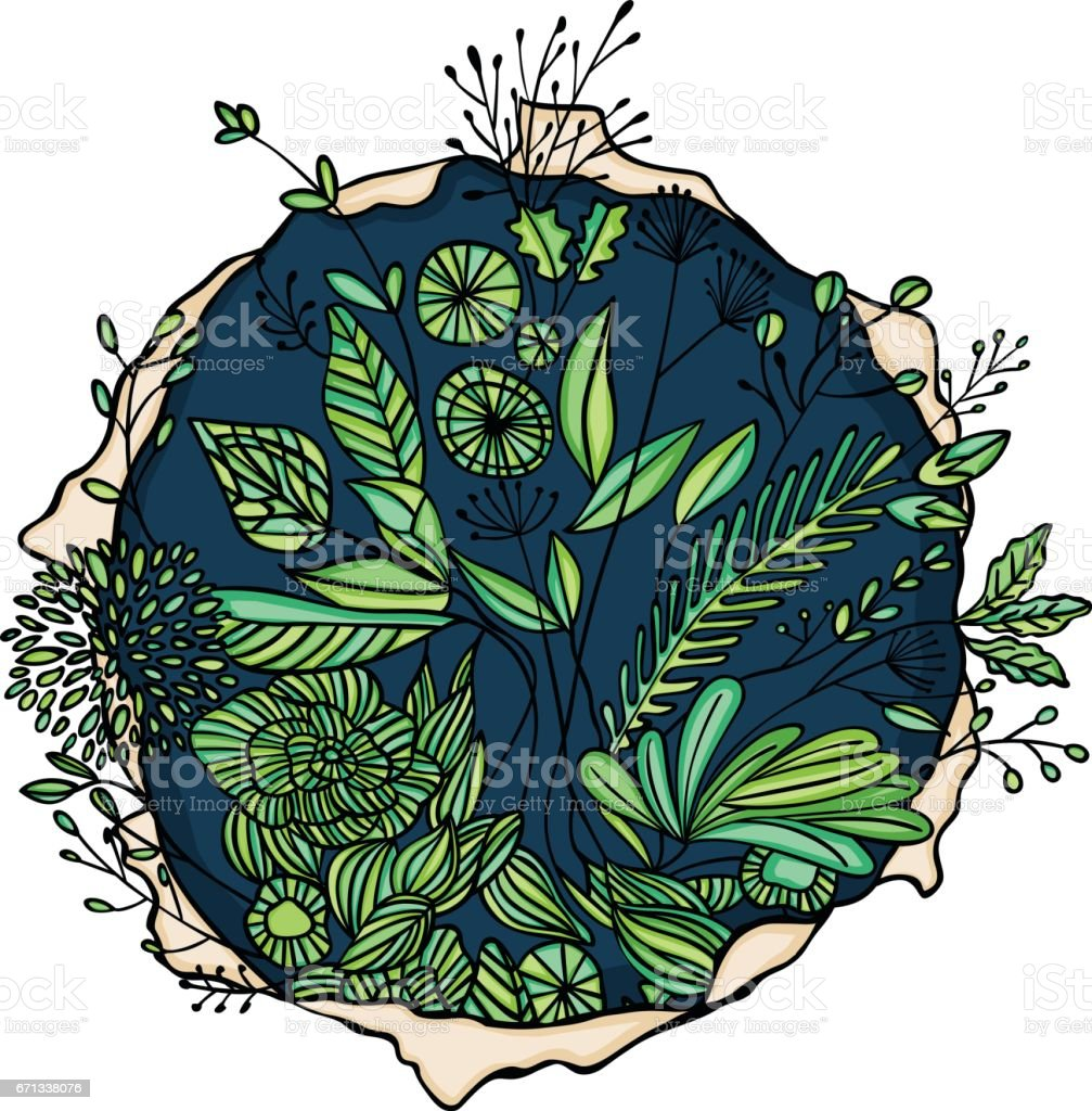 Foliage round hole vector art illustration