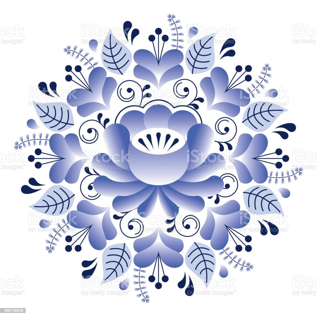 Artistic floral element abstract gzhel folk art blue flowers stock - Folk Art Floral Pattern Russian Design Inspired By Gzhel Ceramics Style Royalty Free Stock