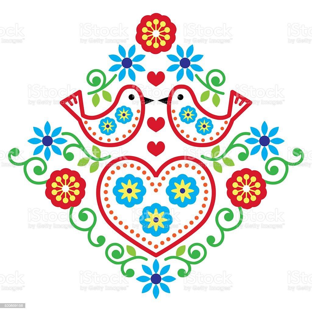 Folk art floral vector pattern with birds vector art illustration