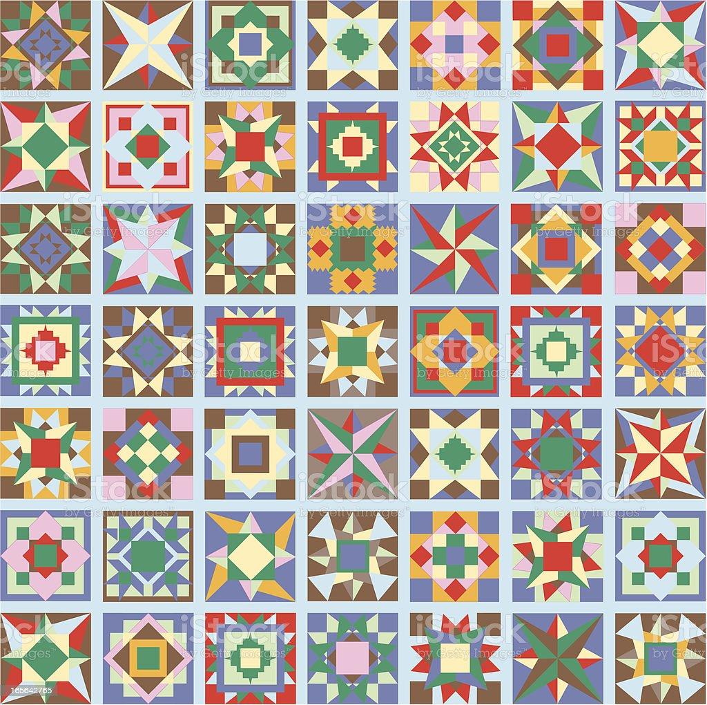 folk art geometric quilt royalty-free stock vector art
