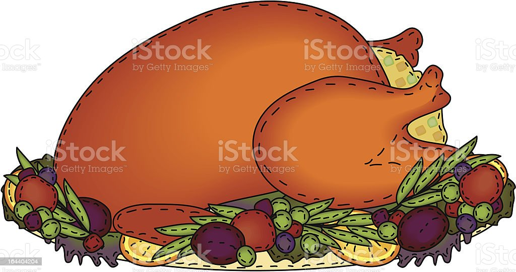 Folk Art Roasted Turkey with Stuffing royalty-free stock vector art