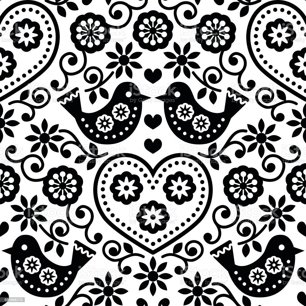 Folk art seamless monochrome pattern with flowers and birds vector art illustration