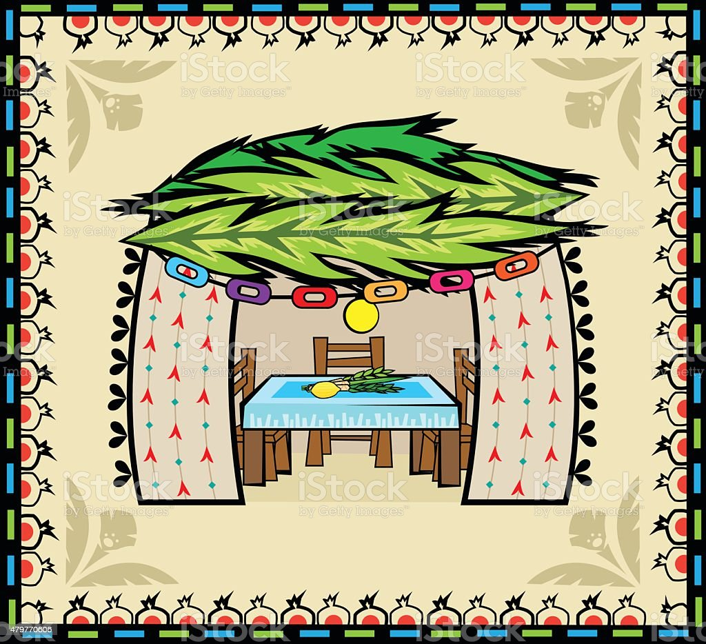 Folk Art Sukkah vector art illustration