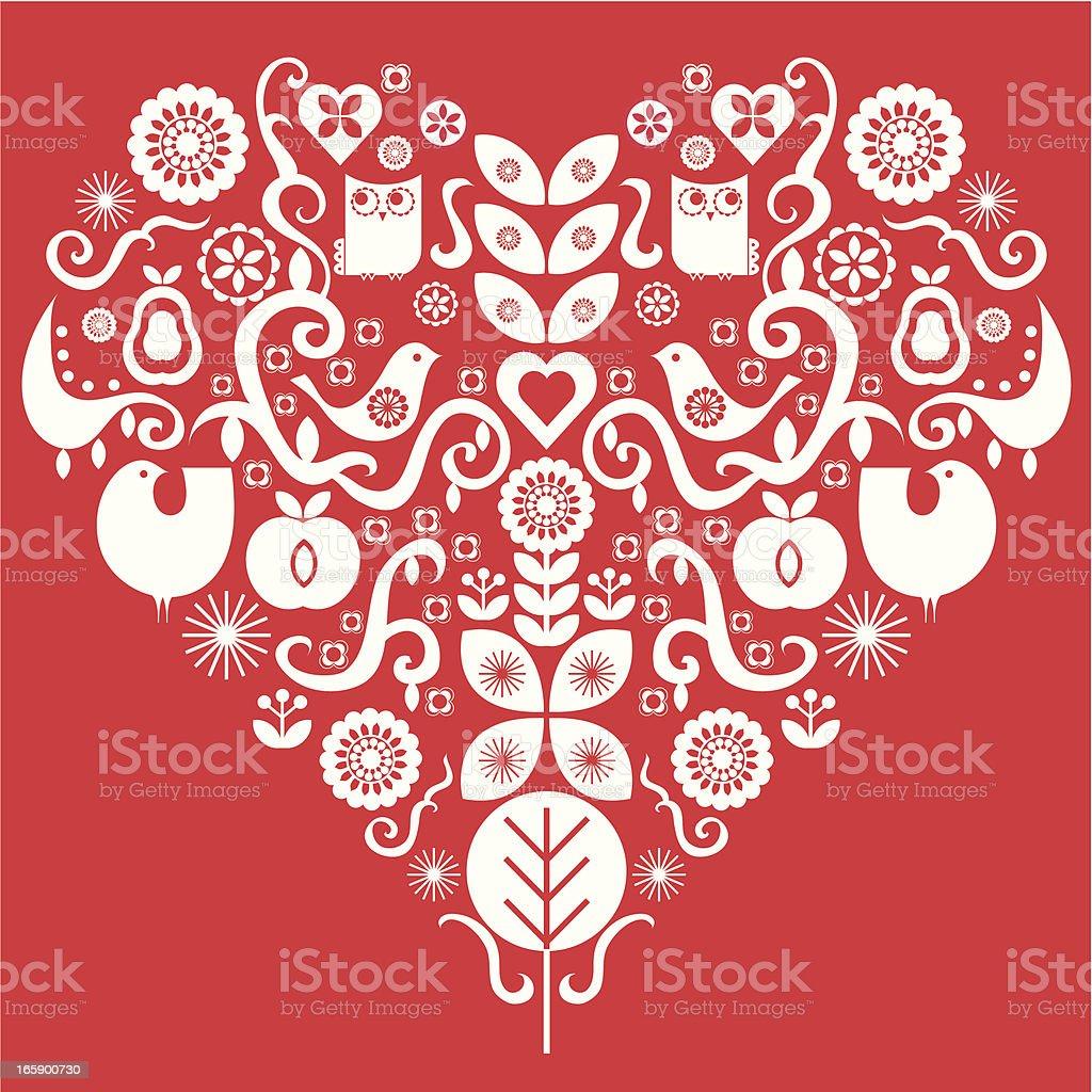 Folk art valentines heart royalty-free stock vector art