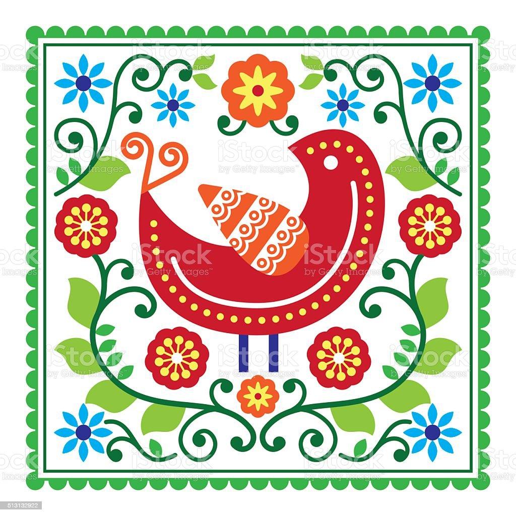 Folk art vector pattern with bird and flowers vector art illustration