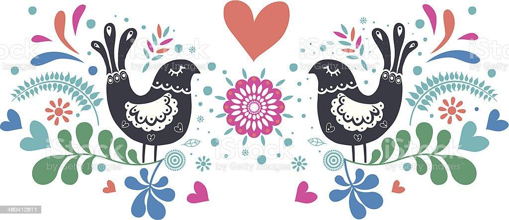 Folk birds vector art illustration