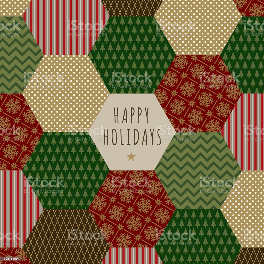 Folk Christmas Card - Illustration vector art illustration