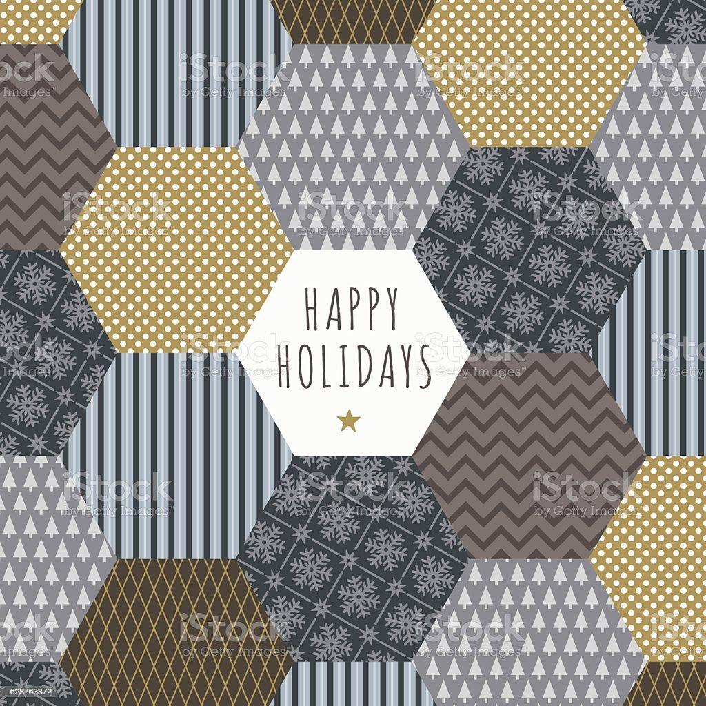 Folk Christmas Card - Illustration vector art illustration