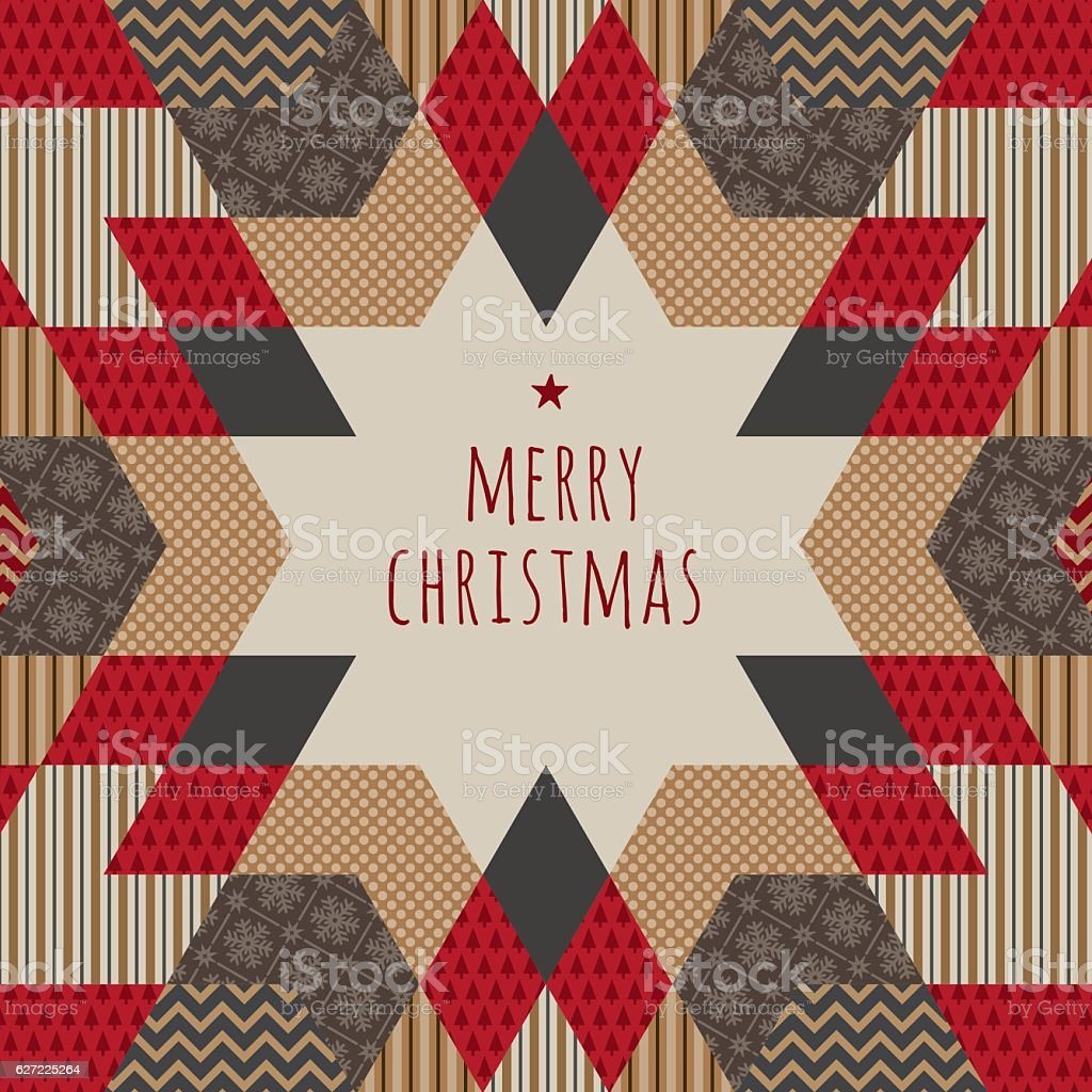 Folk Christmas Card vector art illustration