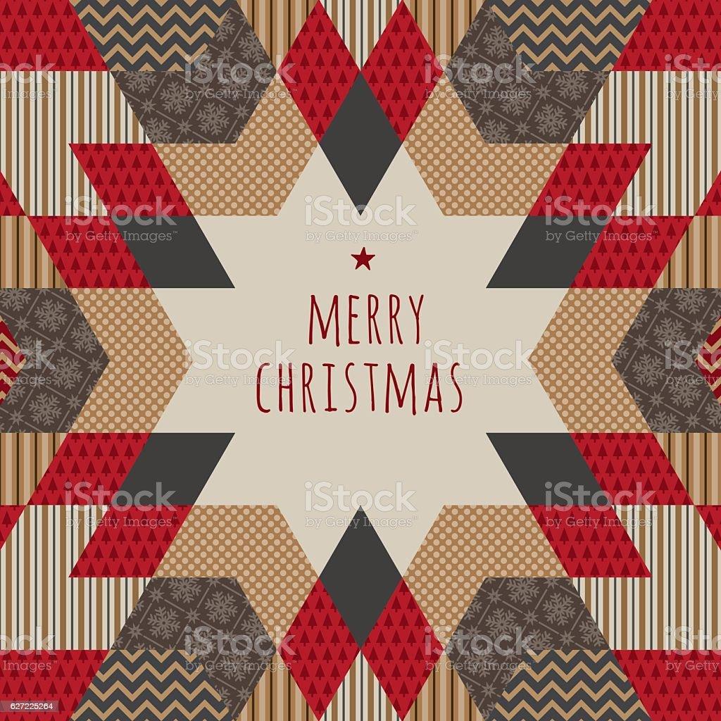 Folk Christmas Card vector art illustration