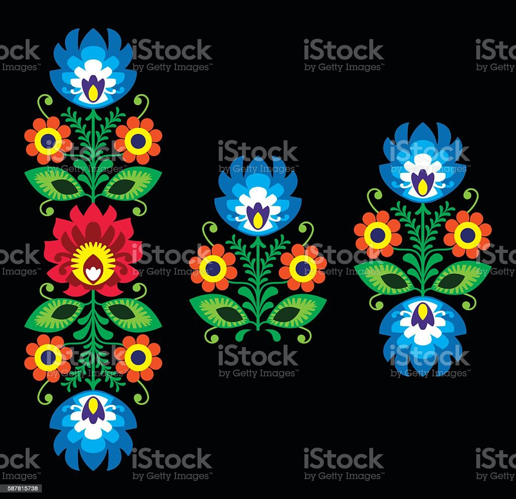 Folk embroidery with flowers - traditional Polish pattern vector art illustration