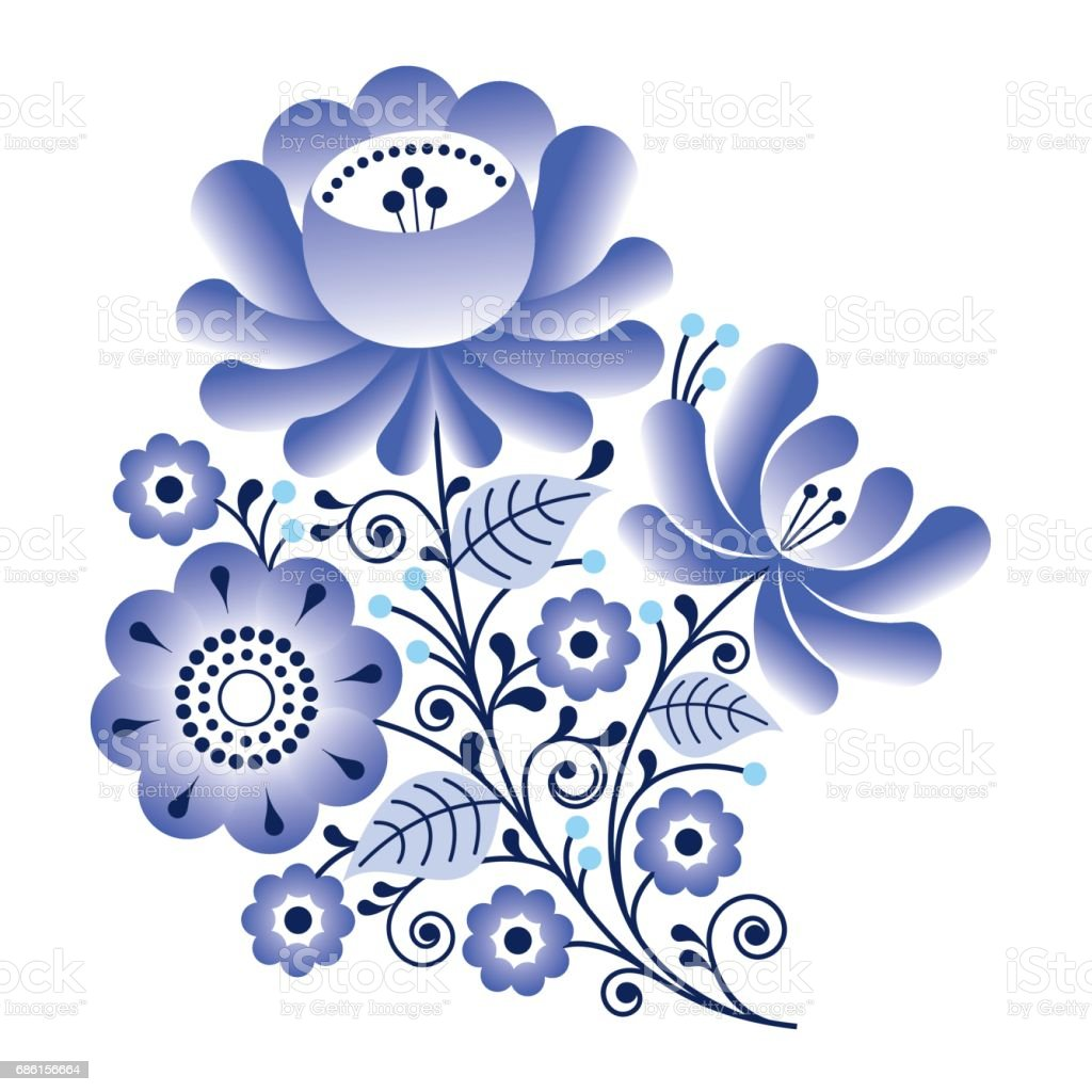 Artistic floral element abstract gzhel folk art blue flowers stock - Folk Flowers Russian Retro Art Floral Gzhel Design Royalty Free Stock Vector Art