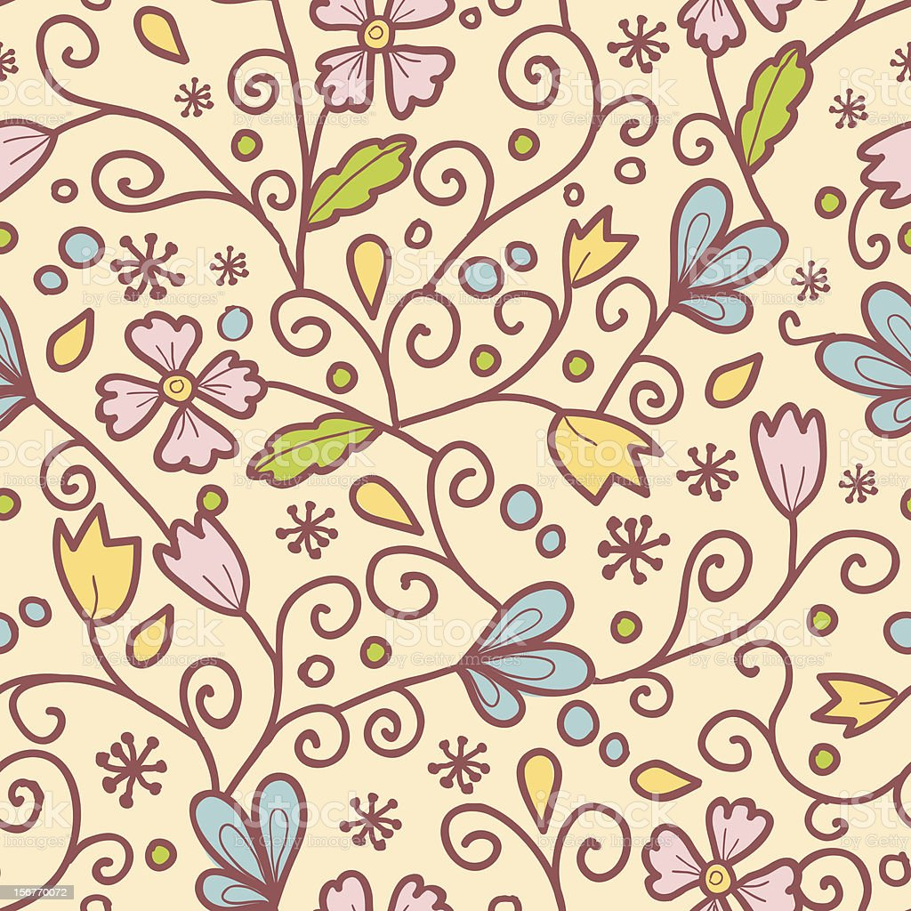 Folk Garden seamless pattern royalty-free stock vector art