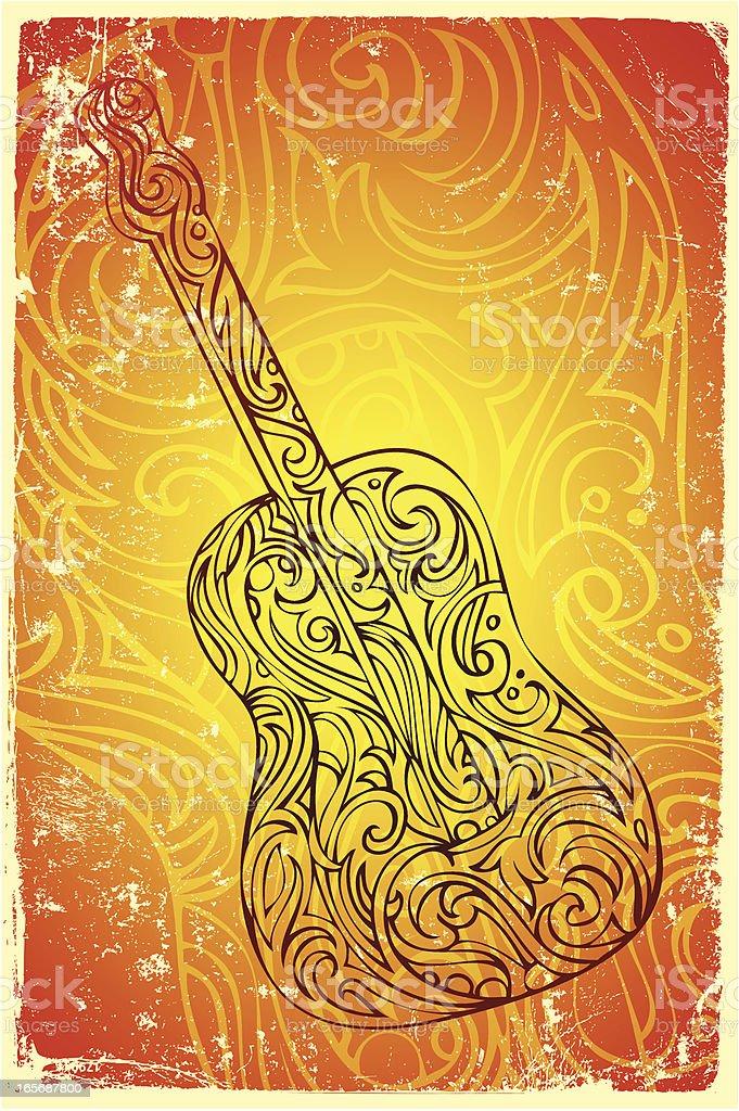 folk guitar vector art illustration