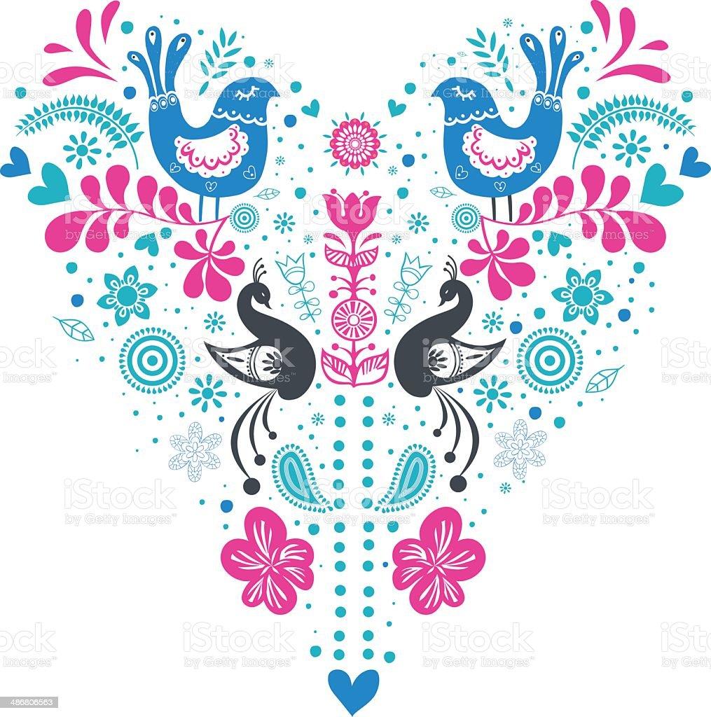 Folk heart vector art illustration