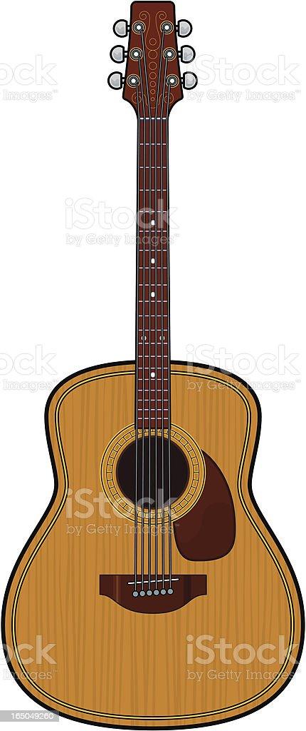 Folk or classical guitar vector art illustration
