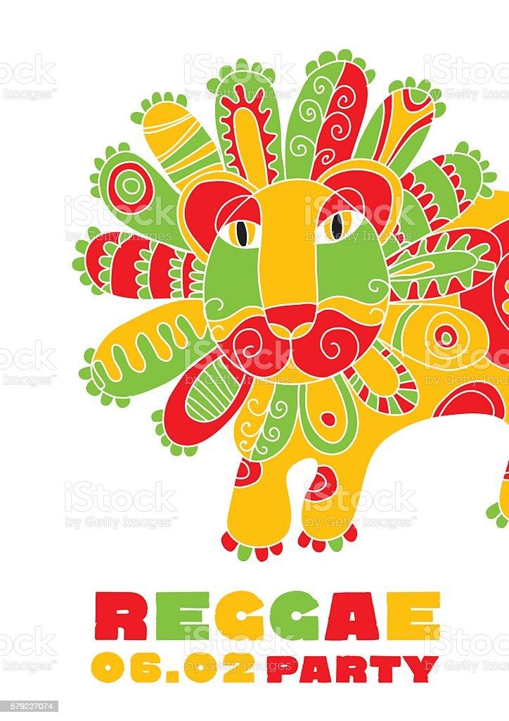 folk style lion  reggae mascot. color music poster on vector art illustration