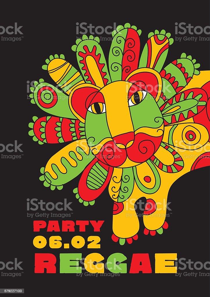 folk style lion  reggae mascot. color music poster. vector art illustration