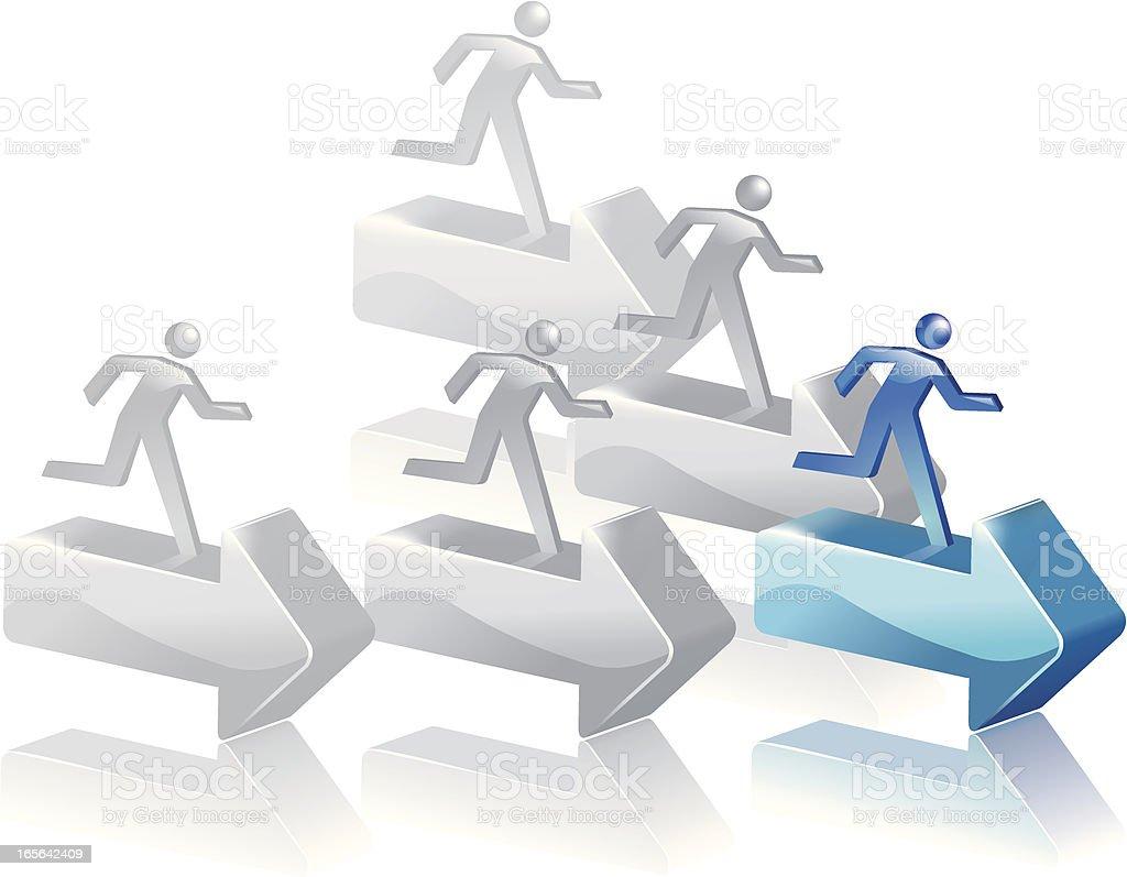 Follow the leader vector art illustration
