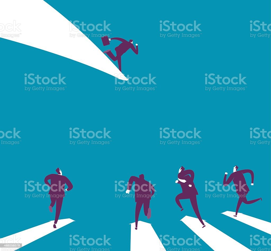 Follow the leader vector art illustration