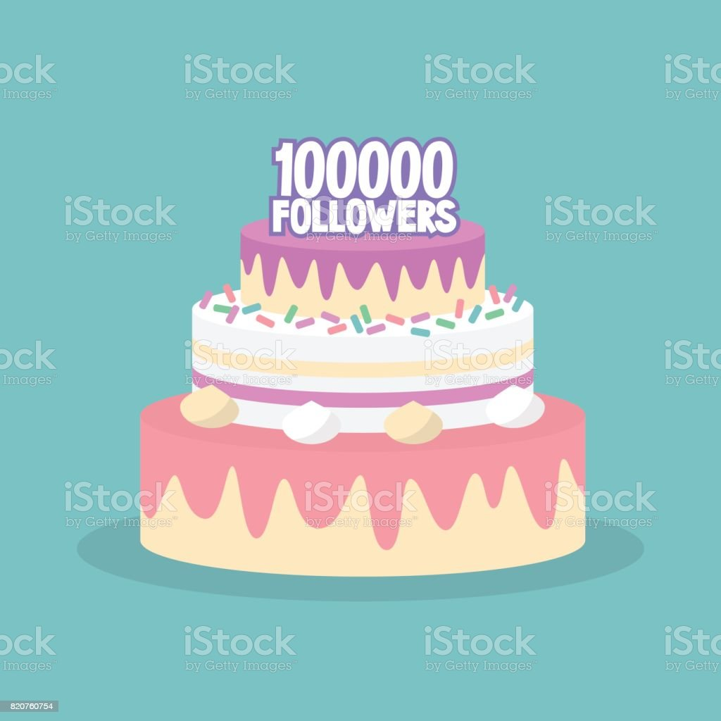 100K followers celebration. Cute layered cake covered with icing / flat editable vector illustration, clip art vector art illustration