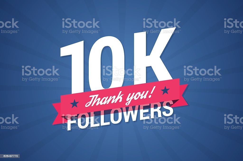 10000 followers illustration with thank you on a ribbon. vector art illustration